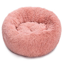 Long faux fur fabric dog bed comfortable donut round soft washable dog bed accessories