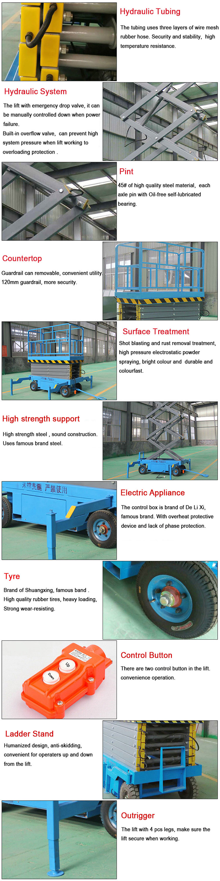 8m Height Outdoor Mobile Scissor Lift