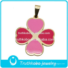 Women Design New Products Fashion PVD Gold Plated Pink And Red Enamel Genuine Four Leaf Clover Pendant for Sale