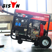 BISON China Electric Start Air Cooled Diesel Power Generator 7KVA with Wheels