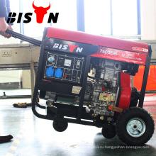 BISON Китай Электрический старт с воздушным охлаждением дизельный генератор 7KVA с колесами
