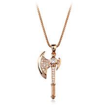 Italina Schmuck Kristall Halskette aus Naturstein ungeschnittene grobe Diamant Kristall Axt Halskette