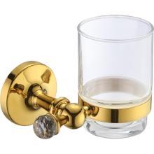 Porta-copos de vidro para banheiro de uso doméstico dourado