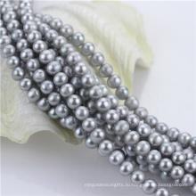 7мм окрашенный серый цвет от круглой естественной пресноводной жемчужины сыпучих шариков