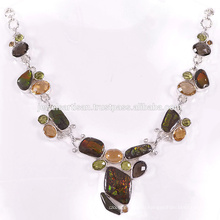 Beautiful Ammolite And Multi Gemstone 925 Solid Silver Necklace Jewelry