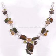 Bela Ammolite E Multi Gemstone 925 Jóias De Prata De Prata Sólida