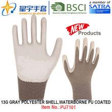 13G Grady poliéster Shell Waterborne PU guantes recubiertos (PU7101) con CE, En388, En420 guantes de trabajo