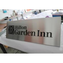 Hotel habitación edificio muro fundido grabado grabado direccional ADVERTENCIA seguridad Metal aluminio acero satinado cepillado las placas