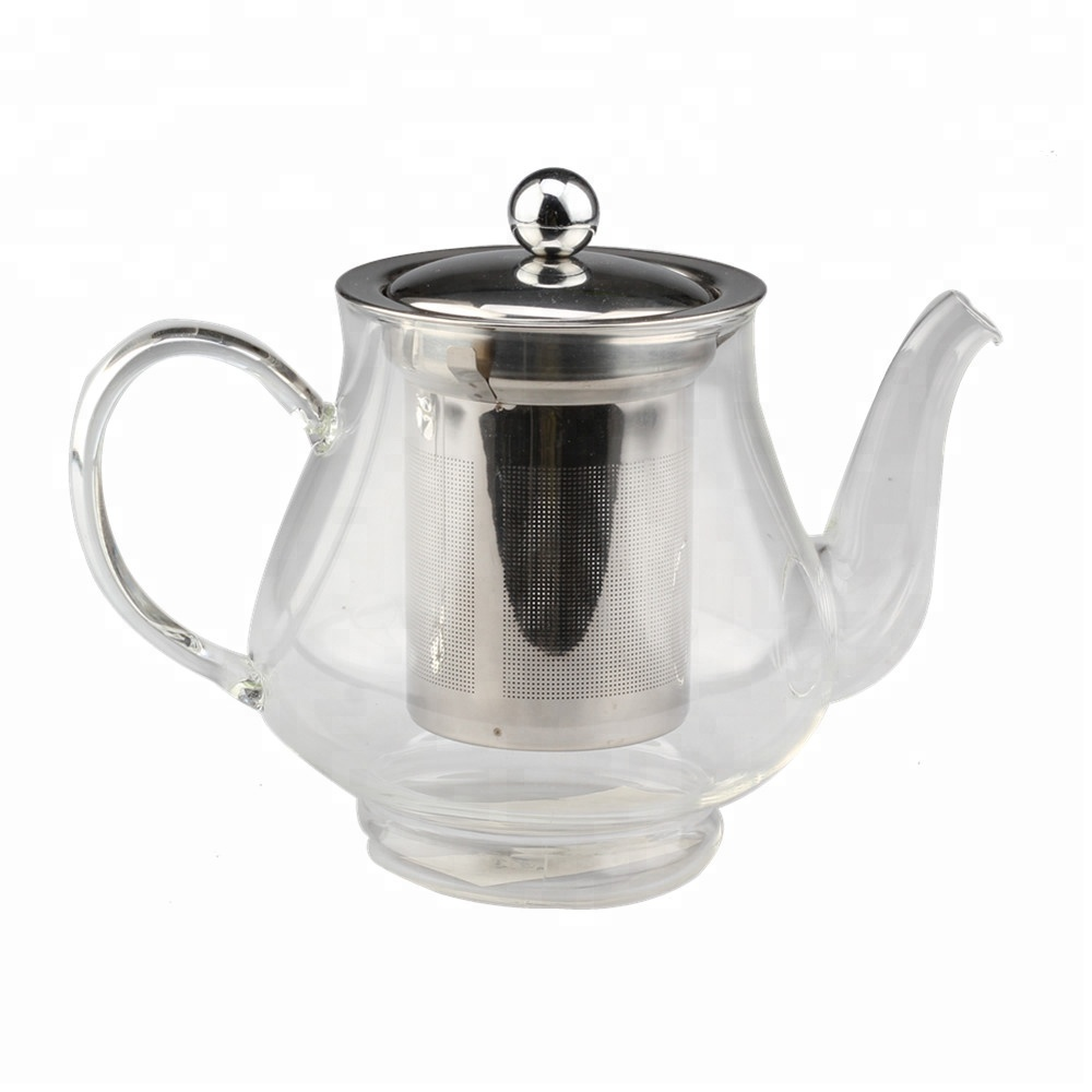 Glass Teapot With Stainless Steel Infuser Lid