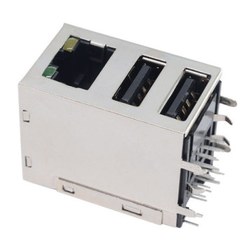 RJ45 ΜΕ TRANSFORMER JACK + USB2.0 GY LED