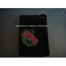 Black Golf Towel with Embroidered Logo