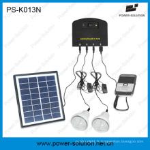 Système solaire à la maison de CC avec l'ampoule solaire de 2W de panneau solaire du chargeur 4W de téléphone portable pour la famille