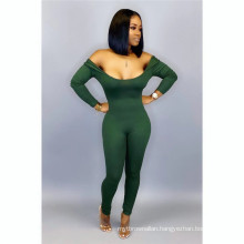 C3675  backless long sleeves rompers women bodycon jumpsuit women solid color color sexy jumpsuit 2020
