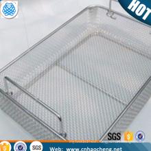 Stainless steel wire mesh medical sterilizer storage basket