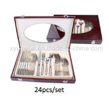 24PCS hochwertiges Edelstahl-Geschirr / Besteck-Set mit hölzernem Kasten-Verpacken
