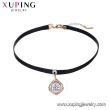 44236 Forme de goutte d'eau avec collier ras de cou en cuir pendentif en diamant, bijoux de mode de fille en gros