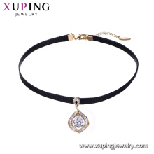 44236 Water drop shape with diamond pendant leather choker necklace, wholesale girl's fashion jewelry