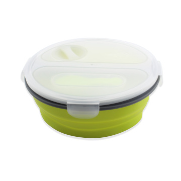 Silikon Round Collapsible Food Container Lunch Box