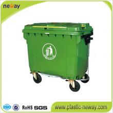 Usage extérieur et poubelle en plastique de caractéristique d'environnement 1100L