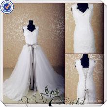 JJ3565 Cap Sleeve detachable skirt short removable train wedding dresse removable skirt