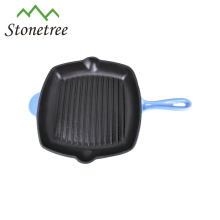 Wholesale New Blue Enamel Cast Iron Korean BBQ Grill Pan