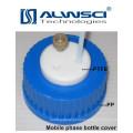 Tampão de rosca azul de material PTFE PP para garrafa de reagente