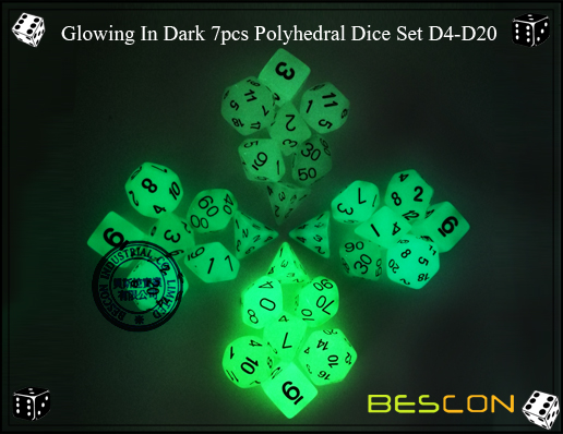 Glowing In Dark 7pcs Polyhedral Dice Set D4-D20-4