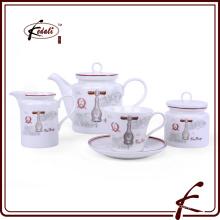 Nuevo patrón de diseño duradera de porcelana coffe set de té
