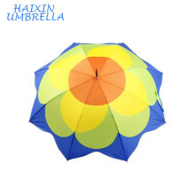 Made in China 100% Ployester Flower Printed Straight Heat Transfer Dye Sublimation Umbrella for Promotion with Leather Handle