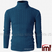 Mens Casual Turtleneck Slim Fit Pullover Sweaters with Twist Patterned