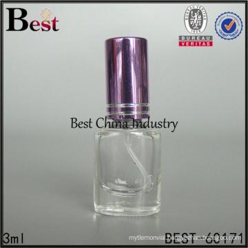 cosmetics hot products 3ml empty uv gel nail polish bottle shiny purple cap mini clear round nail polish bottle
