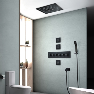 Ceiling Bathroom Thermostatic Black LED Rain Shower Faucet