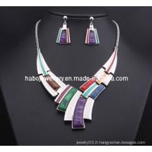 Ensemble de bijoux en pierre carrée / ensemble de collier de mode (XJW13204)