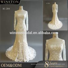 MOQ1 шт Китай сшитое с длинным рукавом круглый вырез свадебное платье,русалка свадебное платье 2016