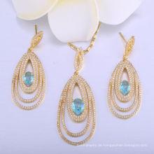 18k Gold Wunder Frauen Anhänger Halskette Damen Schmuck Set Schmuck Ohrring
