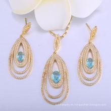 18k oro maravilla mujeres colgante collar de la joyería de las señoras set pendiente de la joyería