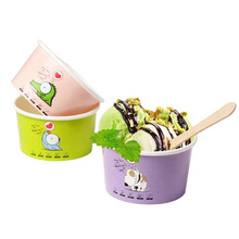 hot sales ice cream paper cup with lid spoon logo printed promotional good environment