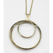 Bronze round pendant necklace metal alloy vintage big Bronze necklace