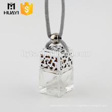 Parfum en verre de forme carrée de haute qualité de 5ml accrochant la bouteille de diffuseur de voiture