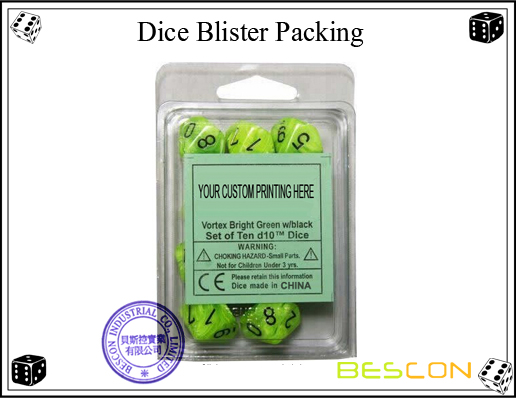 Dice Blister Packing