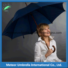 Stick Automatic Open Promotional Sun and Rain Wooden Umbrella