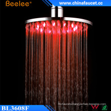 Beelee 8 Inch Round Bathroom Chrome LED Rotating Shower Head