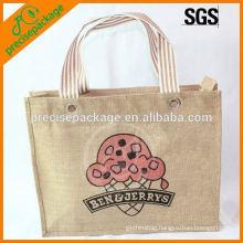 100% natural jute shopping hand bag with cartoon logo