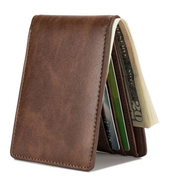 Luxury Rfid Short Slim Leather per uomo