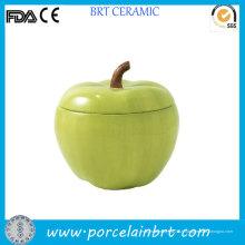 Bocal à biscuits en forme de pomme verte en céramique