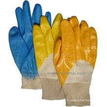 Gant de travail de sécurité au jardinage en nitrile jaune semi-rigide