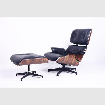Mysiga Eames Lounge-stol i Top Grain Leather
