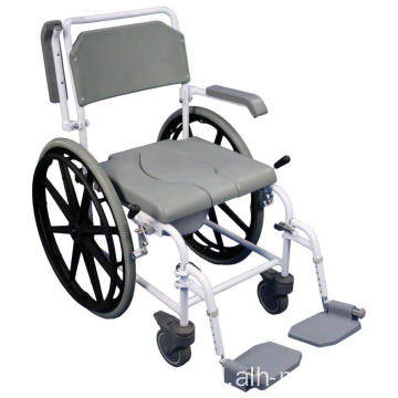 Shower Commode Chair dengan Roda Nyata 24 ""