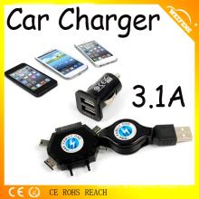 Adaptador de cargador USB de coche extensible de diseño caliente