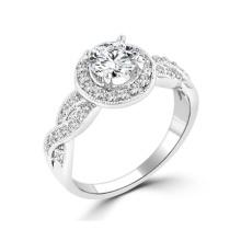 925 Silber Halo Zirkonia Verlobungsring